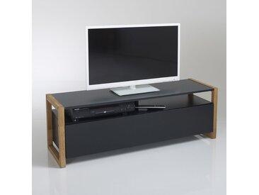 Meuble TV porte abattante, Compo LA REDOUTE INTERIEURS Chêne/Noir