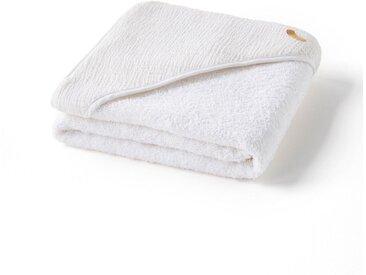 Cape de bain gaze de coton biologique, Cuddly AM.PM Blanc Ecume