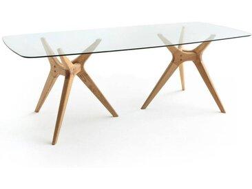 Table rectangulaire verre/chêne, Maricielo AM.PM Chêne Naturel