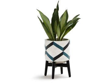 Cache-pot sur pied en céramique et bois, GRAFICO LA REDOUTE INTERIEURS Noir-Bleu-Blanc