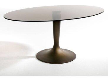 Table plateau ellipse verre fumé, Seona AM.PM Verre Fumé