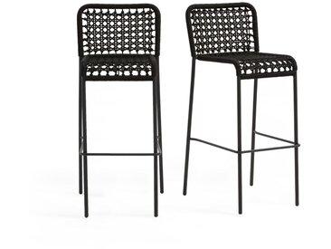2 chaises hautes de jardin Saphir, corde tressée LA REDOUTE INTERIEURS Noir