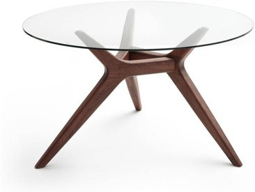 Table ronde verre/noyer Ø130 cm, Maricielo AM.PM Noyer