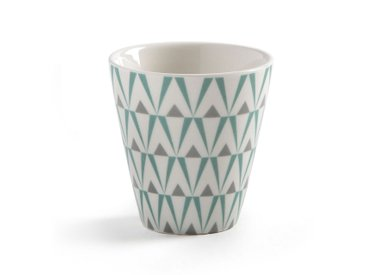 Coffret 4 tasses et sous-tasses bambou LA REDOUTE INTERIEURS Blanc/Imprimé Gris