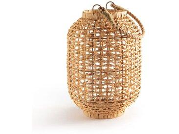 Lanterne verre et rotin, H33,5 cm Meida LA REDOUTE INTERIEURS Naturel