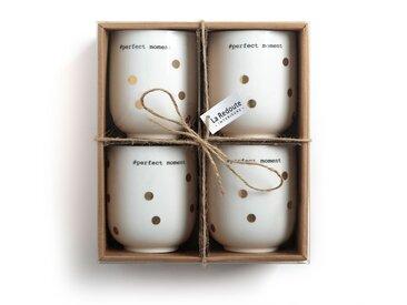 Lot 4 tasses à thé en porcelaine, KUBLER LA REDOUTE INTERIEURS Imprimé Pois