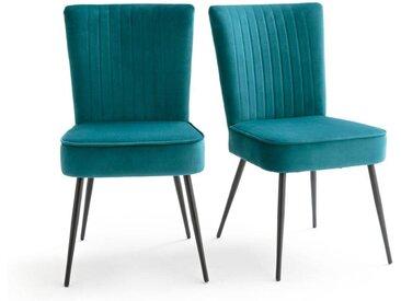 Lot de 2 chaises rétro style 50's, Ronda LA REDOUTE INTERIEURS Bleu Prusse