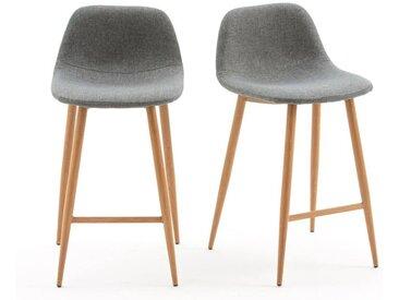 Lot de 2 chaises de bar mi-hauteur, Nordie LA REDOUTE INTERIEURS Gris