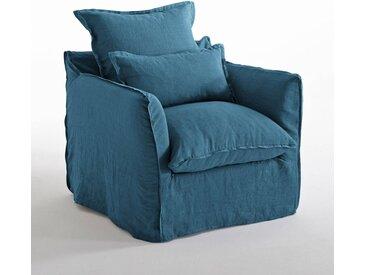 Fauteuil en lin confort bultex, Odna LA REDOUTE INTERIEURS Bleu Paon