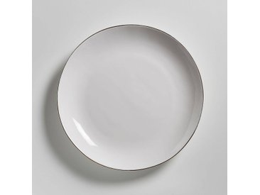 Lot de 4 assiettes plates faïence, Catalpa AM.PM Blanc - Doré