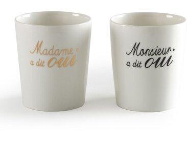 """Coffret de 2 tasses porcelaine """"Mariage"""" MARRYME LA REDOUTE INTERIEURS Blanc Imprimé"""