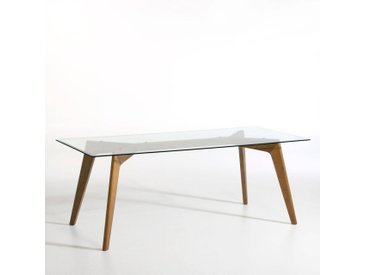 Table rectangulaire verre et noyer, Kristal AM.PM Noyer