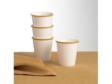 Lot 4 tasses en céramique, IRUN LA REDOUTE INTERIEURS Ocre