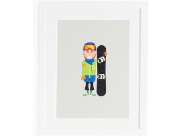 Affiche encadrée snowboarder, Coriamai AM.PM Multicolore