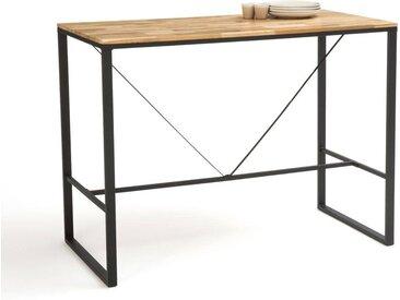 Table de bar haute 2 couverts chêne et acier, Hiba LA REDOUTE INTERIEURS Naturel