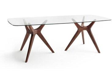 Table rectangulaire verre/noyer, Maricielo AM.PM Noyer