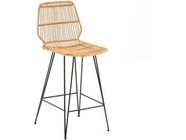 Chaise de bar mi-hauteur en kubu, MALU LA REDOUTE INTERIEURS Naturel