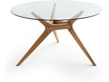 Table ronde verre/chêne, Maricielo AM.PM Chêne Naturel