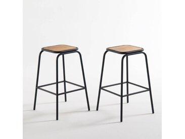 Lot de 2 tabourets de bar H.65 cm, Hiba LA REDOUTE INTERIEURS Noir