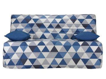 Banquette BZ, mousse Bultex 15 cm LA REDOUTE INTERIEURS Imprimé Triangles Bleu