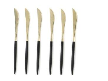Lot de 6 couteaux inox champagne Barbule AM.PM Noir, Doré