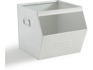 Casier empilable en métal, HIBA LA REDOUTE INTERIEURS Blanc Cassé