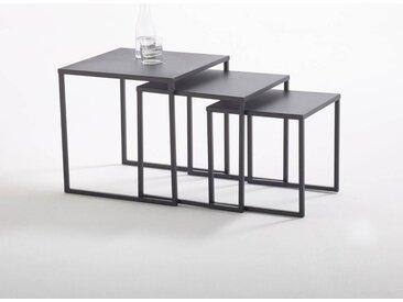 Lot de 3 tables basses gigognes en acier, Hiba LA REDOUTE INTERIEURS Noir
