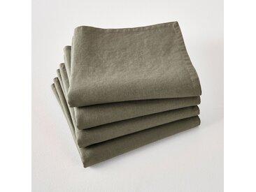 Serviettes de table lin lavé Victorine (lot de 4) LA REDOUTE INTERIEURS Kaki