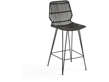 Chaise de bar mi-hauteur en kubu, MALU LA REDOUTE INTERIEURS Noir