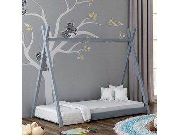Lit cabane Tipi pour enfant - Gris - 70 cm x 160 cm