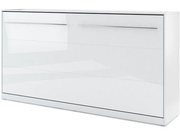 Lit armoire escamotable horizontal blanc brillant - 90 cm x 200 cm