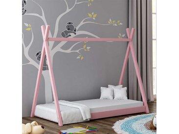 Lit cabane Tipi pour enfant - Rose - 70 cm x 160 cm