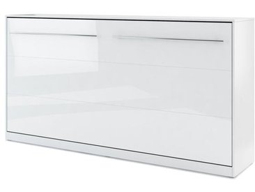 Lit armoire escamotable horizontal blanc brillant - 90 cm x 200 cm