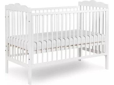Lit bébé blanc ou gris pas cher Oliver Blanc 60 cm x 120 cm Bois massif petitechambre.fr