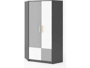 Armoire d'angle graphite et blanc pour ado Gris petitechambre.fr