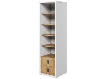 Bibliothèque hauteur 200 cm MASSI blanc et chêne hickory pour chambre enfant Chêne hickory Panneaux Stratifiés petitechambre.fr
