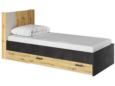 Lit ado QUBIC 90x200 avec tiroir et LED - Chêne