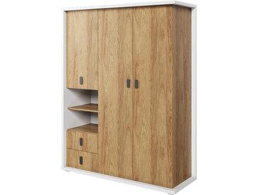 Armoire 3 portes MASSI largeur 150 cm blanc et chêne hickory pour chambre enfant Chêne hickory Panneaux Stratifiés petitechambre.fr