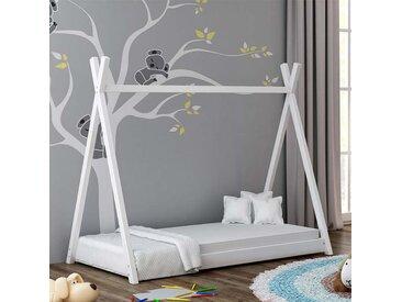 Lit cabane Tipi pour enfant - Blanc - 70 cm x 160 cm