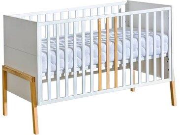 Lit bébé 140x70 YETI blanc et bois