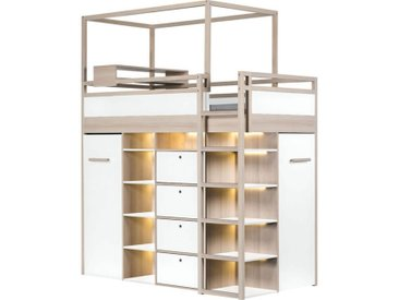 Lit mezzanine tout équipé avec multiples rangements - Blanc,Graphite