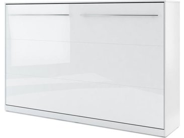 Lit armoire escamotable horizontal blanc brillant - 120 cm x 200 cm