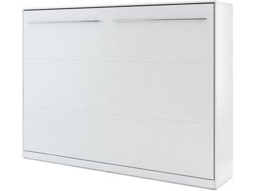 Lit armoire escamotable blanc mat - 140 cm x 200 cm