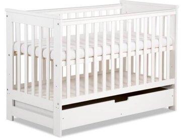 Lit bébé évolutif 120x60 Kiwo - Blanc,Pin - 60 cm x 120 cm