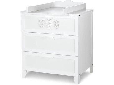 Commode bébé Hibou blanche Blanc MDF et mélaminé petitechambre.fr