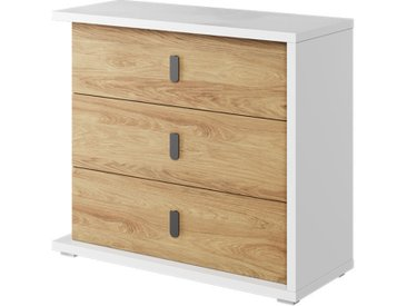 Commode MASSI 3 tiroirs largeur 100 cm pour chambre enfant Chêne hickory Panneaux Stratifiés petitechambre.fr