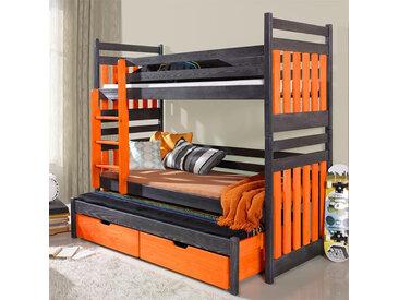 Lit superposé 3 couchages Sambor orange et graphite - 80 cm x 180 cm