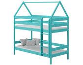 Lit superposé cabane en bois 3 couchages DOMEK Turquoise 80 cm x 190 cm Bois massif petitechambre.fr