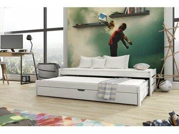 Lit gigogne Anis - 4 couleurs - 7 Tailles - Blanc - 80 cm x 200 cm