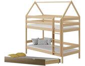 Lit superposé cabane en bois 3 couchages DOMEK Pin 80 cm x 160 cm Bois massif petitechambre.fr